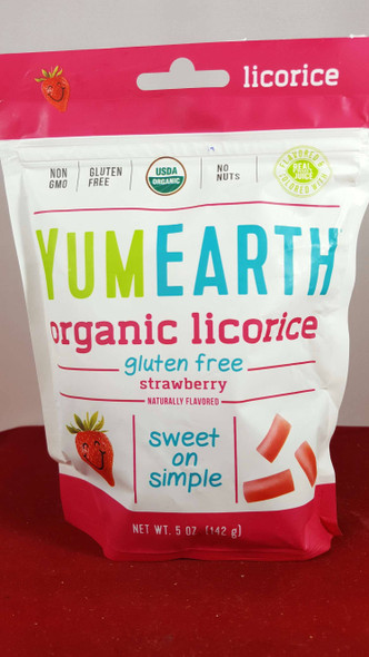 Licorice, Strawberry, Gluten Free, Organic, 5 oz. - Regaliz, Fresa, Sin Gluten, Orgánico, 5 oz