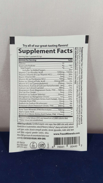 Electrolyte Pak, 1200 mg Vitamin C, Watermelon, .18 oz - Electrolyte Pak, 1200 mg Vitamina C, Sandía, .18 oz