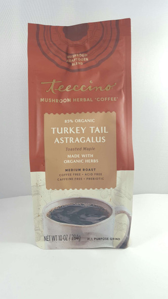 Herbal Coffee, Turkey Tail Astragalus, Medium Roast, Coffee Free, 10 oz. - Café de Hierbas, Cola de Pavo y Astrágalo, Tostado Medio, Sin Café, 10 oz.