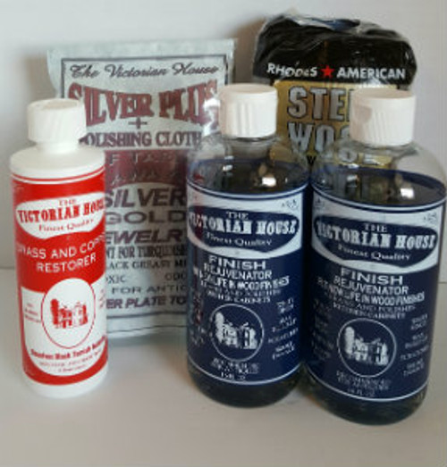 SUPER Sampler 5--2 finish rejuvenator for your wood, the brass and copper cleaner and silver plus and a 12 pack of the #0000 steel wool applicators.