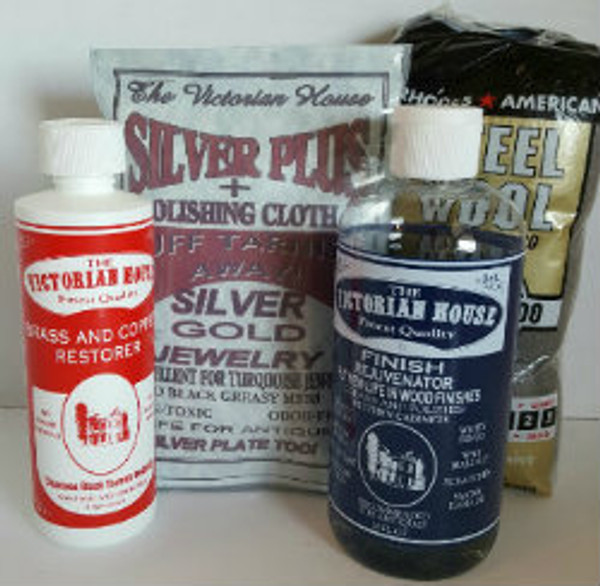 SAMPLER 4--ONE OF EACH OF The Victorian House PRODUCTS AND A 12 PACK OF #0000 STEEL WOOL APPLICATORS.  Finish Rejuvenator, Brass and Copper Cleaner, Silver Plus, steel wool.