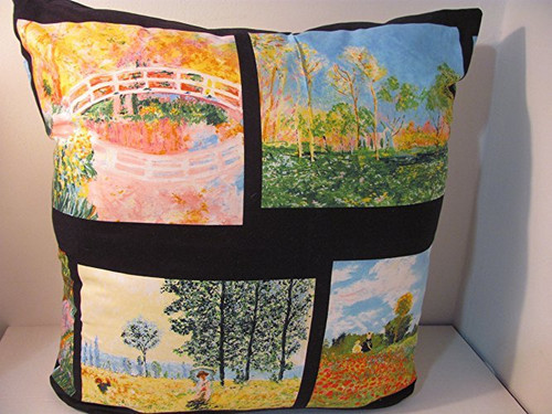 large pillow with Monet fabric