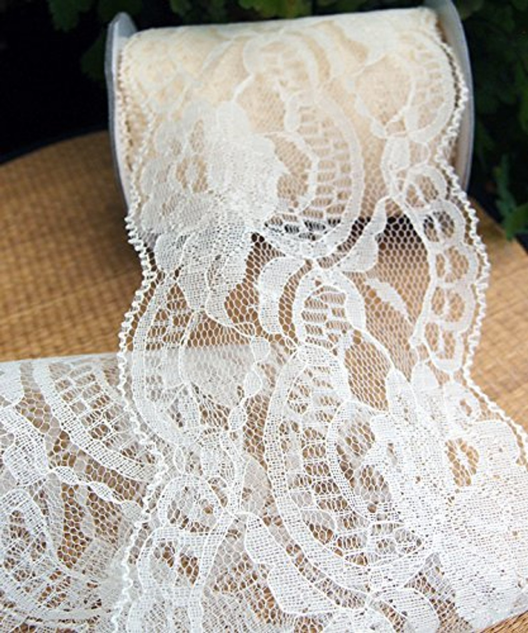 AK-Trading 1 wide x 25 yards Floral Pattern Lace Ribbon for Decorating Ivory Floral Designing and Crafts