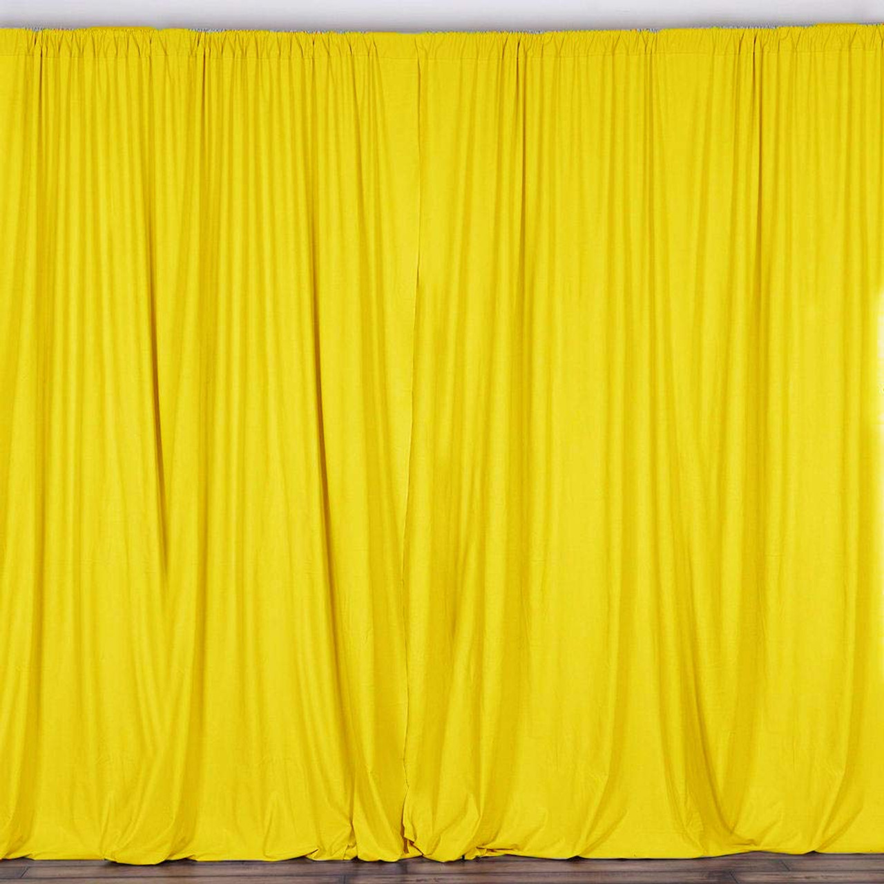 2 Pack 10 Feet Polyester Backdrop Drapes Curtains Panels With Rod Pockets Wedding Ceremony Party Home Window Decorations Lemon Yellow Ak Trading Co