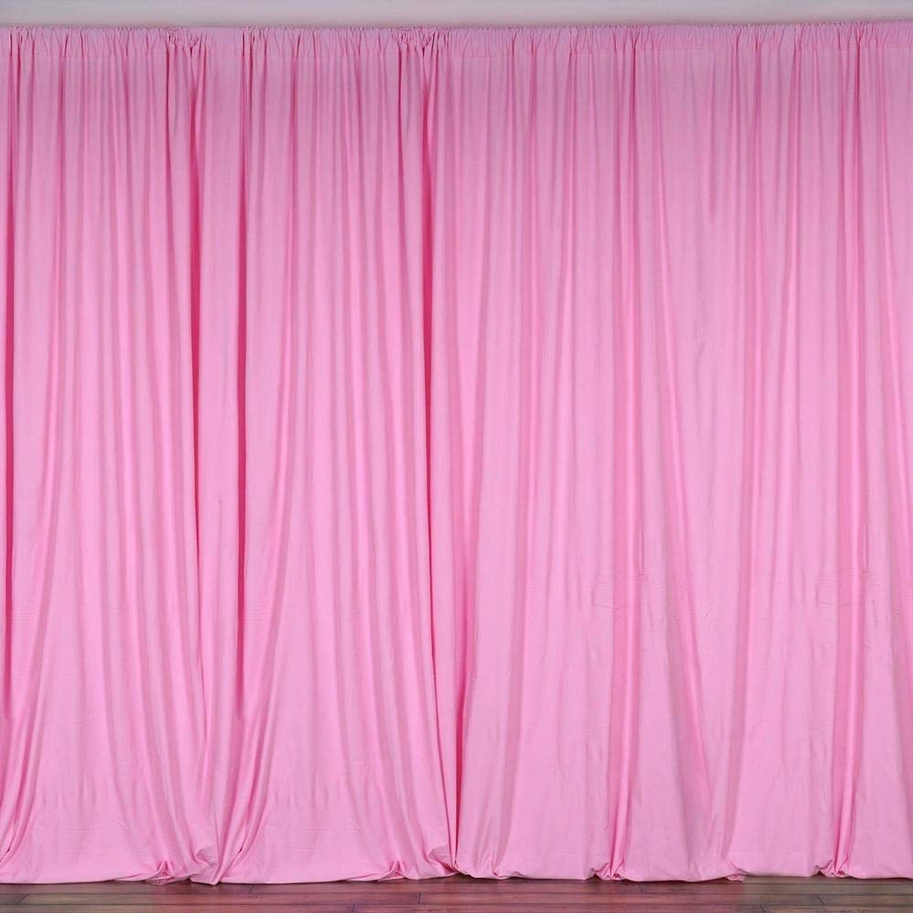2 Pack | 10 Feet Polyester Backdrop Drapes Curtains Panels with Rod Pockets  - Wedding Ceremony Party Home Window Decorations - Pink - AK Trading Co.