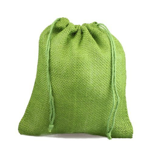 "12"" x 14"" Burlap Jute Favor Party Gift Bags with Drawstring (Pack of 10) - Green"