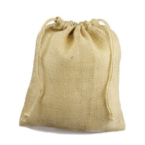 "12"" x 14"" Burlap Jute Favor Party Gift Bags with Drawstring (Pack of 10) - Ivory"