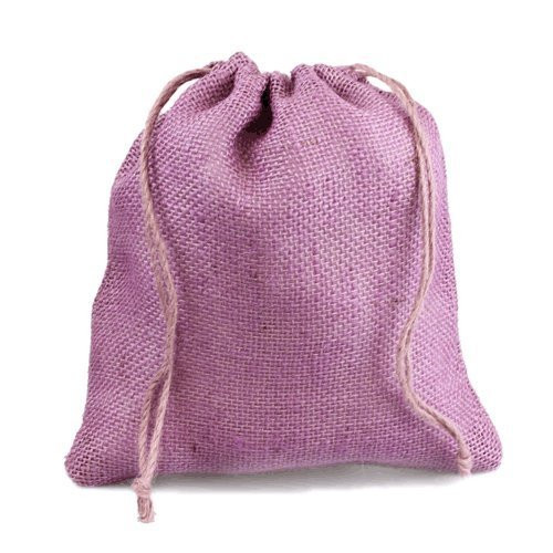 "12"" x 14"" Burlap Jute Favor Party Gift Bags with Drawstring (Pack of 10) - Lavender"