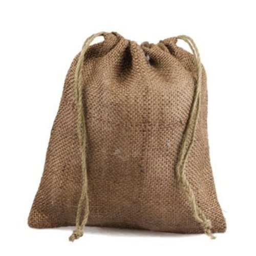"12"" x 14"" Burlap Jute Favor Party Gift Bags with Drawstring (Pack of 10) - Natural"