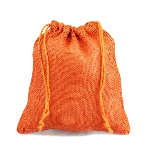 "12"" x 14"" Burlap Jute Favor Party Gift Bags with Drawstring (Pack of 10) - Orange"