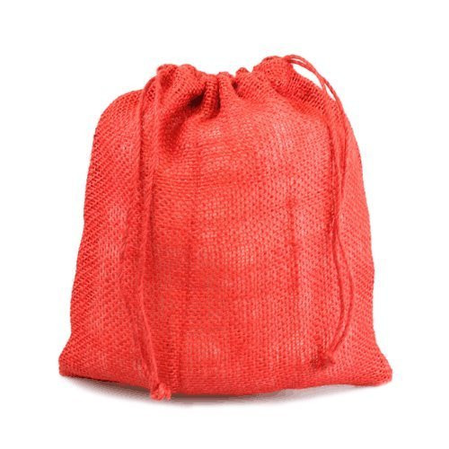 "12"" x 14"" Burlap Jute Favor Party Gift Bags with Drawstring (Pack of 10) - Red"