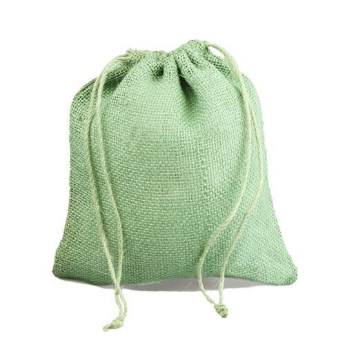 "12"" x 14"" Burlap Jute Favor Party Gift Bags with Drawstring (Pack of 10) - Spring Moss"