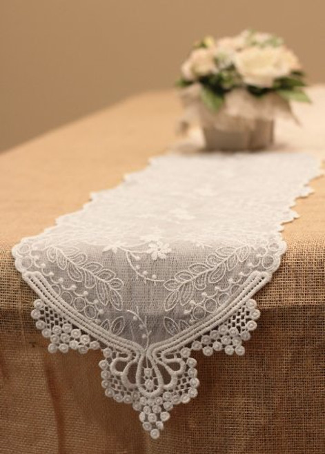 "12"" x 74"" inches Floral Pattern Cotton Lace Table Runner (White)"