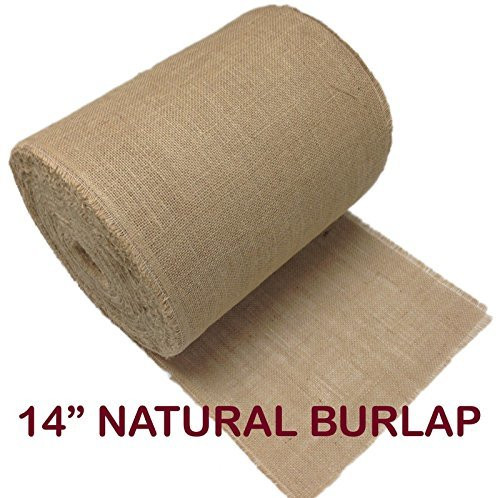 """14"""" Inch Natural Burlap Roll. Fringed and Sewn Edges. (25 Yards)"""