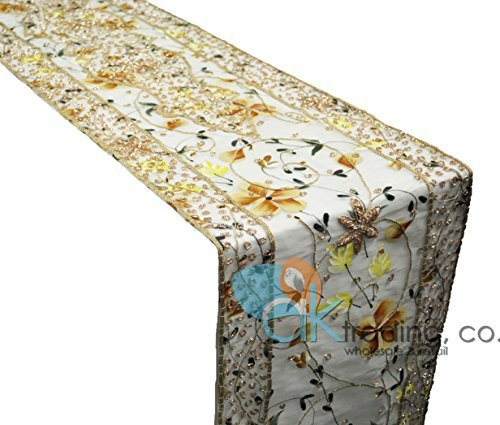 "14"" x 72"" Hand Painted and Embroidered Design Table Runner or Topper with Organza Border"