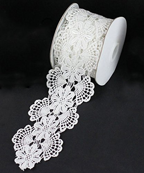 "2 3/4"" x 5 Yards Floral Lace Crochet Ribbon (White)"