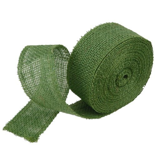 2 Inch Burlap Jute Ribbon for Party Decorations, Rustic Wedding Decor, Craft Projects - Green