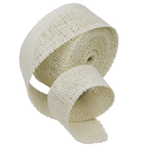 2 Inch Burlap Jute Ribbon for Party Decorations, Rustic Wedding Decor, Craft Projects - Off White