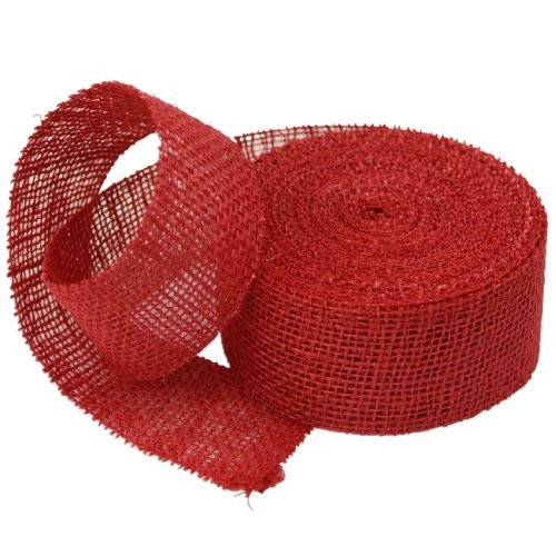 2 Inch Burlap Jute Ribbon for Party Decorations, Rustic Wedding Decor, Craft Projects - Red