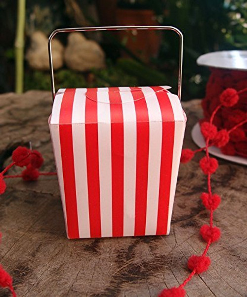 "2"" Mini Stripe Pet Take-out Gift Favor Boxes, Pack of 12 (Red)"