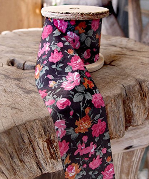 "2"" Wide x 10 Yards Polyester Long Floral Print Ribbon - Black with Pink Flowers"