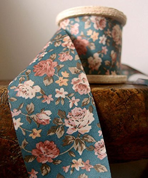 "2"" Wide x 10 Yards Polyester Long Floral Print Ribbon - Blue"