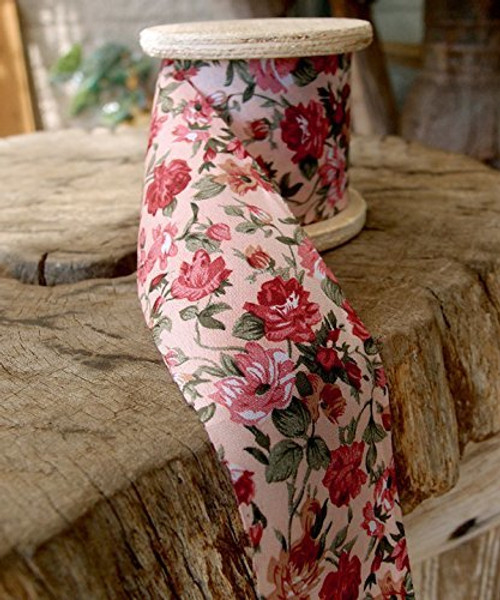 "2"" Wide x 10 Yards Polyester Long Floral Print Ribbon - Light Pink"