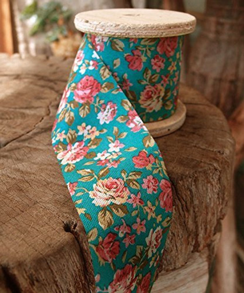 "2"" Wide x 10 Yards Polyester Long Floral Print Ribbon - Turquoise"
