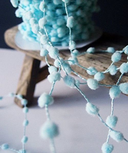 25 Yards Fuzzy Pom Pom Wired Trim Ribbon Lace - Aqua