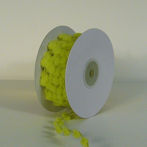 25 Yards Fuzzy Pom Pom Wired Trim Ribbon Lace - Lime Green