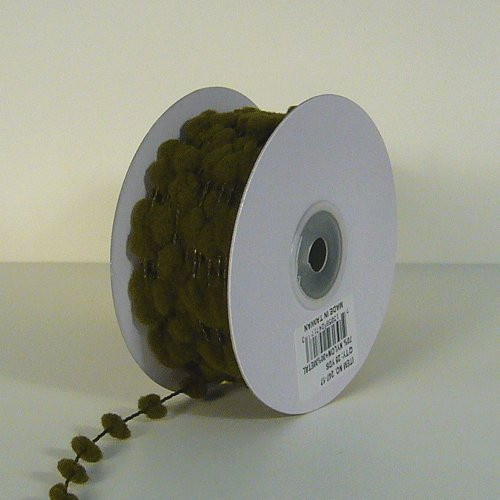 25 Yards Fuzzy Pom Pom Wired Trim Ribbon Lace - Moss Green