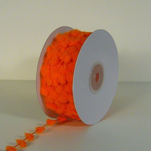 25 Yards Fuzzy Pom Pom Wired Trim Ribbon Lace - Orange