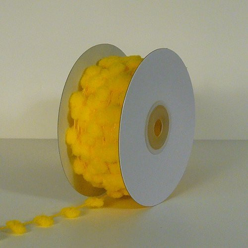 25 Yards Fuzzy Pom Pom Wired Trim Ribbon Lace - Yellow