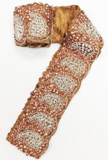 "3"" x 30"" Indian Hand Beaded & Sequin Paisley Design Copper Antique Trim with Satin Backing"