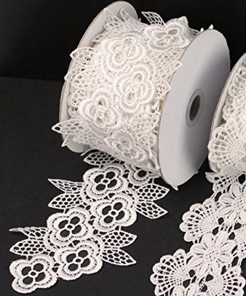 "3"" x 5 Yards Floral Lace Crochet Ribbon (Ivory)"