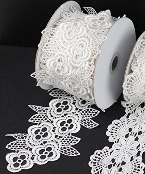 "3"" x 5 Yards Floral Lace Crochet Ribbon (White)"