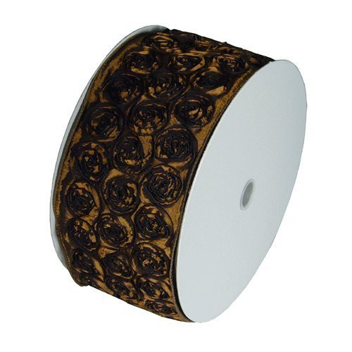 "4"" Wide x 10 Yards Rose Petal Rosette Ribbon with Wire Edge - Brown"