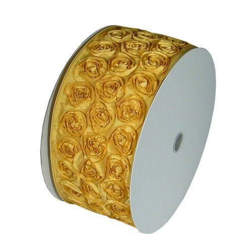"4"" Wide x 10 Yards Rose Petal Rosette Ribbon with Wire Edge - Gold"