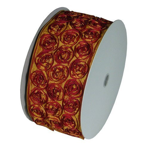 "4"" Wide x 10 Yards Rose Petal Rosette Ribbon with Wire Edge - Gold/Red"
