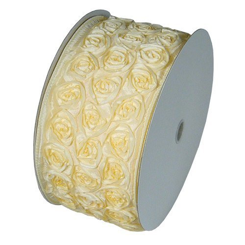 "4"" Wide x 10 Yards Rose Petal Rosette Ribbon with Wire Edge - Ivory"