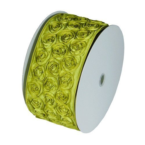 "4"" Wide x 10 Yards Rose Petal Rosette Ribbon with Wire Edge - Lime Green"