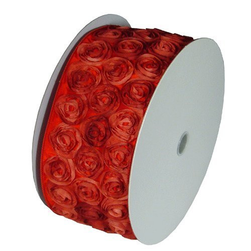"4"" Wide x 10 Yards Rose Petal Rosette Ribbon with Wire Edge - Red"