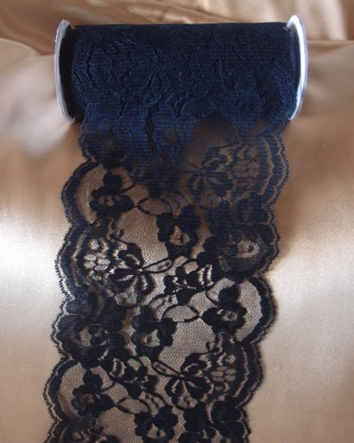 "5.5"" wide x 10 yards Black Floral Pattern Lace Ribbon for Decorating, Floral Designing and Crafts"