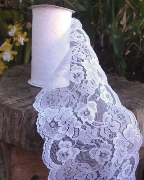 "5.5"" wide x 10 yards White Floral Pattern Lace Ribbon for Decorating, Floral Designing and Crafts"