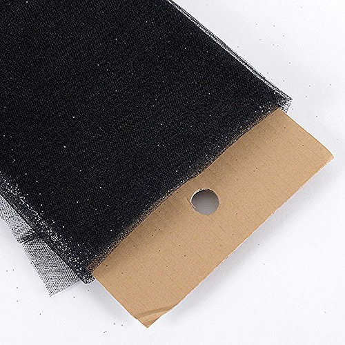"54"" Inch X 10 Yards Premium Glitter Tulle Fabric Bolt (Black)"