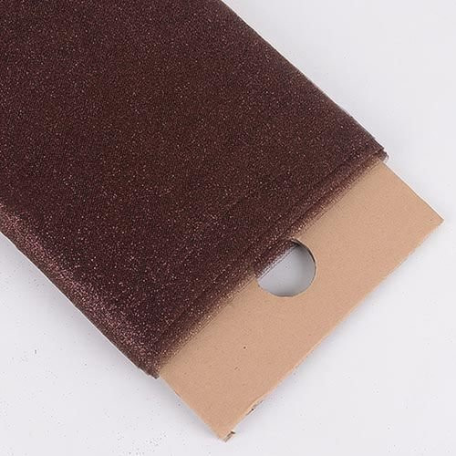 "54"" Inch X 10 Yards Premium Glitter Tulle Fabric Bolt (Brown)"