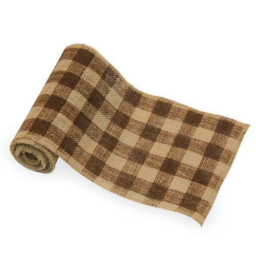 "6"" Wide x 10 Yards Checker Design Natural Burlap Ribbon (Brown)"
