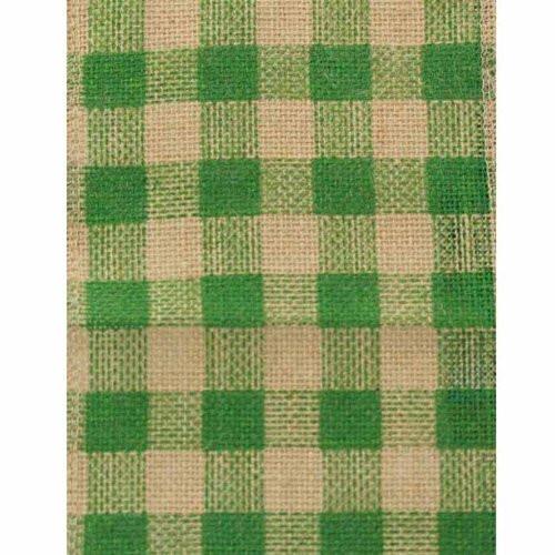 "6"" Wide x 10 Yards Checker Design Natural Burlap Ribbon (Green)"