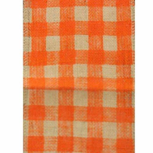 "6"" Wide x 10 Yards Checker Design Natural Burlap Ribbon (Orange)"
