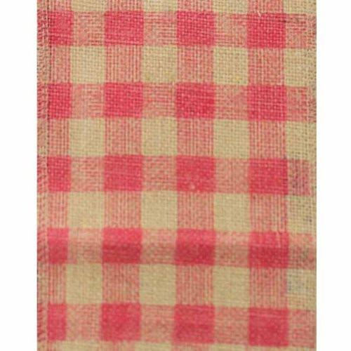 "6"" Wide x 10 Yards Checker Design Natural Burlap Ribbon (Pink)"